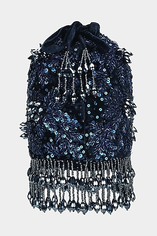 Midnight Blue Bucket Bag With Sequins Work by Aanchal Sayal