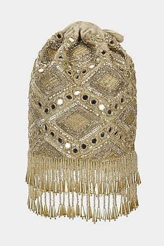 Gold Bucket Bag With Mirror Work by Aanchal Sayal
