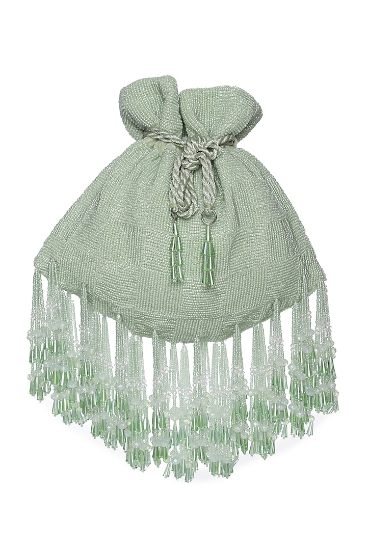 Mint Green Potli With Crystals by Aanchal Sayal