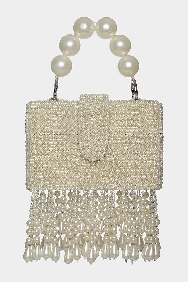 Ivory Mini Bag With Pearl Embellishments by Aanchal Sayal