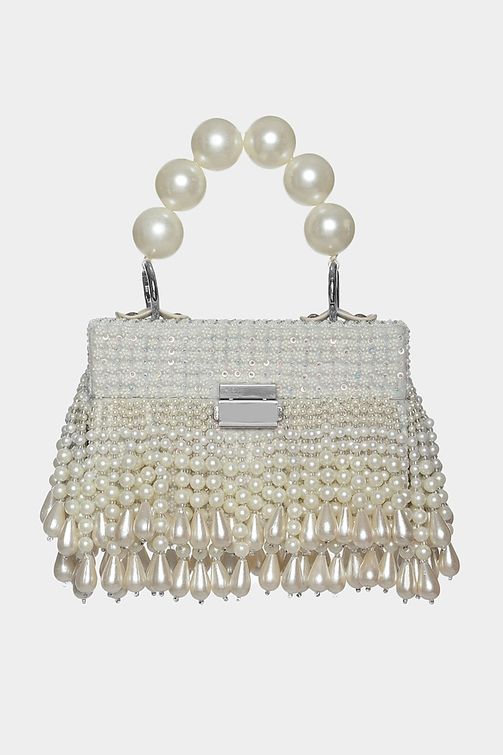 Ivory Sequins Embellished Mini Box Bag by Aanchal Sayal
