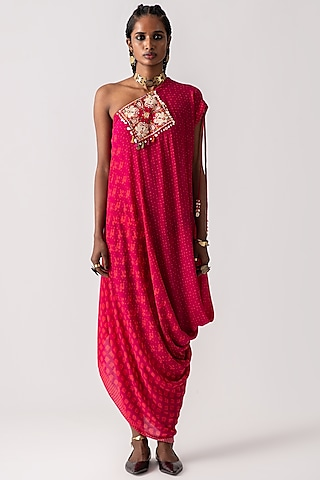 Red Violet Printed & Embroidered Draped Dress by ASEEM KAPOOR