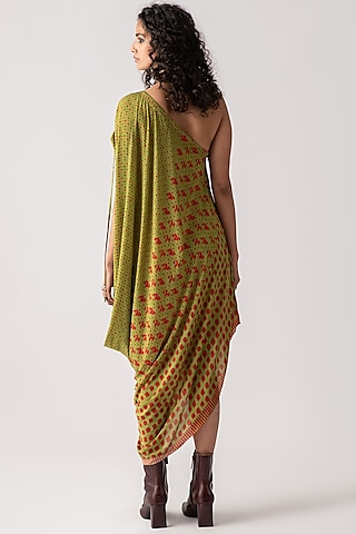 Fern Green Printed & Embroidered Draped Dress by ASEEM KAPOOR