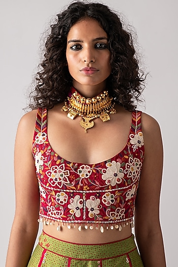 Shocking Pink Embroidered Blouse by ASEEM KAPOOR