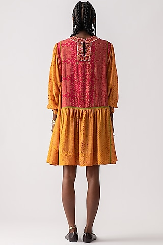 Yellow Topaz Embroidered & Printed Dress by ASEEM KAPOOR