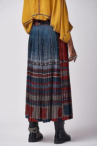 Neel Blue Color Blocked Pleated Skirt by ASEEM KAPOOR