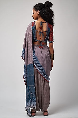 Neel & Sindoori Printed Textured Blouse by ASEEM KAPOOR