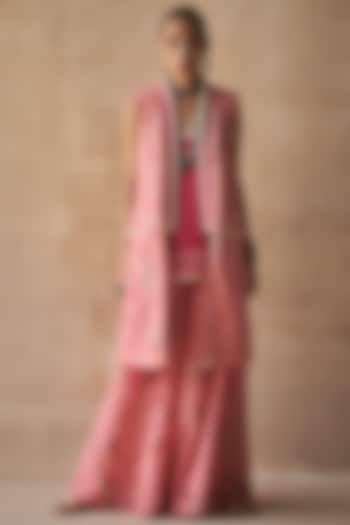 Gulabi Colored Floral Printed Jacket by ASEEM KAPOOR