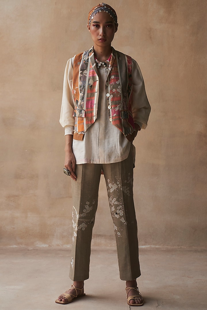 Multi Colored Striped Waistcoat by ASEEM KAPOOR