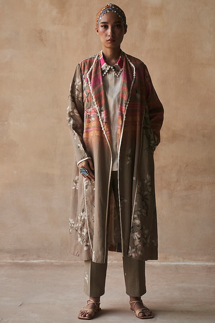 Bhura Colored Printed Trench Coat by ASEEM KAPOOR