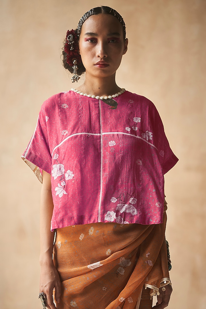 Gulabi Colored Floral Printed Blouse by ASEEM KAPOOR