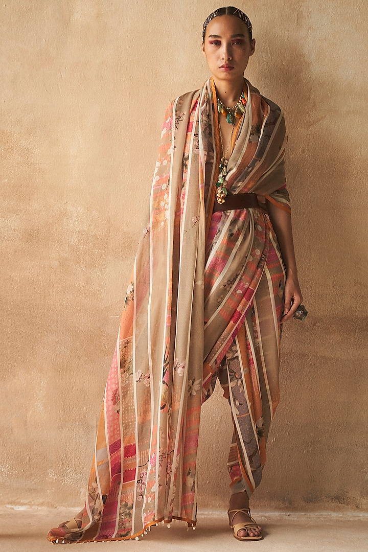 Multi Colored Striped Saree by ASEEM KAPOOR