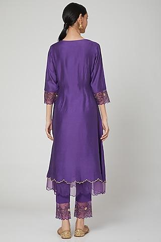 Purple Embroidered Kurta Set by ASAGA