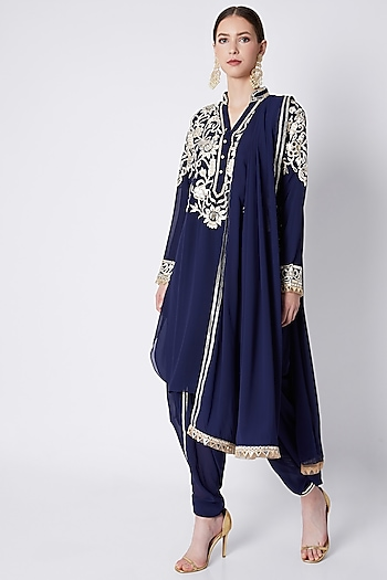 Navy Blue Embroidered Kurta Set by ASAL By Abu Sandeep