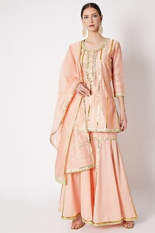 Peach Embroidered Gharara Set by ASAL By Abu Sandeep