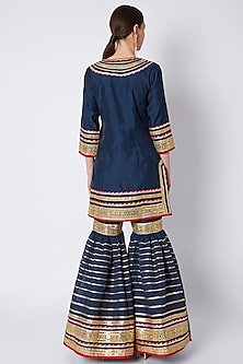Navy Blue Embroidered Gharara Set by ASAL By Abu Sandeep