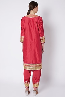 Red Embroidered Kurta Set by ASAL By Abu Sandeep