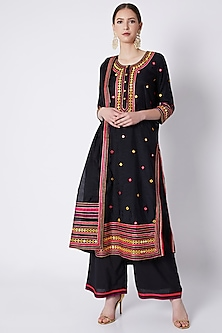Black Applique Embroidered Kurta Set by ASAL By Abu Sandeep