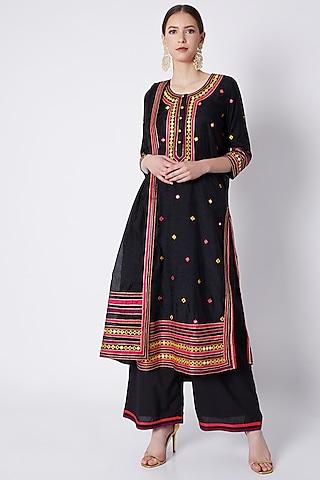 Black Applique Embroidered Kurta Set by ASAL By Abu Sandeep