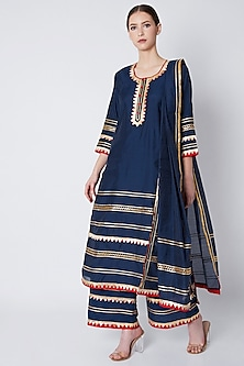 Navy Blue Gota Embroidered Kurta Set by ASAL By Abu Sandeep