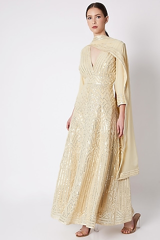 Beige Mirror Embroidered Anarkali Set by ASAL By Abu Sandeep