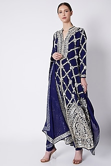 Navy Blue Embroidered Flared Sherwani Set by ASAL By Abu Sandeep-READY TO SHIP