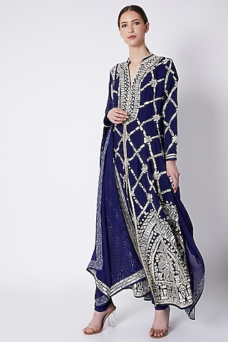 Navy Blue Embroidered Flared Sherwani Set by ASAL By Abu Sandeep