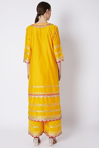 Yellow Gota Embroidered Kurta Set by ASAL By Abu Sandeep