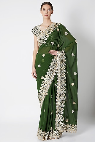 Emerald Green Embroidered Saree Set by ASAL By Abu Sandeep