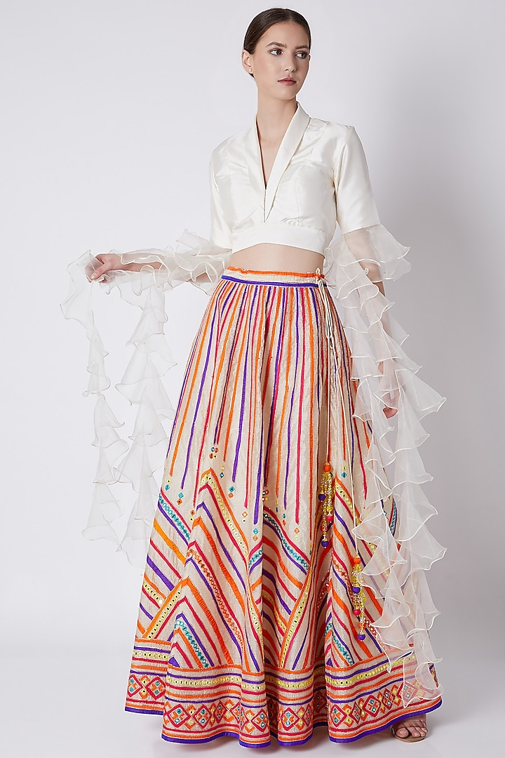Off White Concept Blouse With Embroidered Gharara by ASAL By Abu Sandeep
