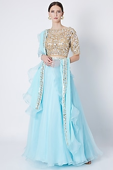 Aqua Blue Embroidered Lehenga Set by ASAL By Abu Sandeep