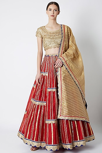 Red Gota Embroidered Gharara Set by ASAL By Abu Sandeep