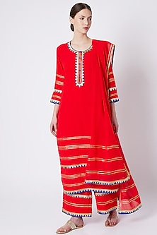 Red Embroidered & Printed Kurta Set by ASAL By Abu Sandeep