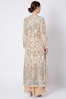 Beige & Off White Embroidered Printed Kurta Set by ASAL By Abu Sandeep