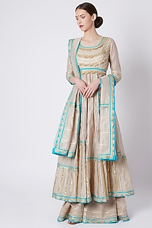Grey Gota Embroidered Anarkali Set by ASAL By Abu Sandeep