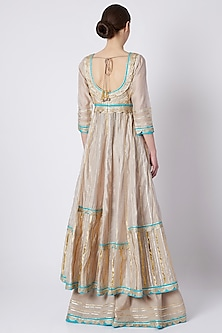 Grey Embroidered & Printed Anarkali Set by ASAL By Abu Sandeep