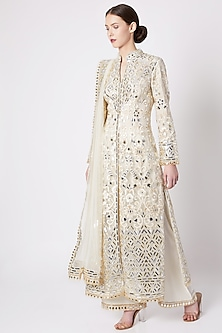 Off White Embroidered & Printed Sherwani Set by ASAL By Abu Sandeep