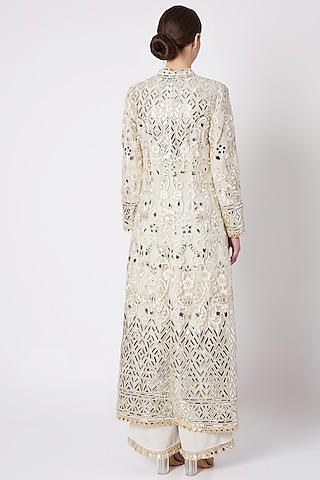 Off White Embroidered Sherwani Set by ASAL By Abu Sandeep