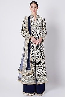 Cobalt Blue Embroidered & Printed Sherwani Set by ASAL By Abu Sandeep