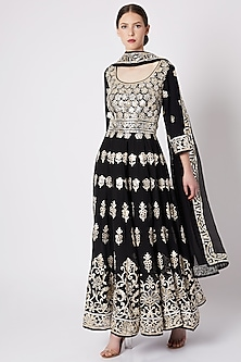 Black Embroidered & Printed Anarkali Set by ASAL By Abu Sandeep