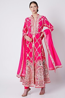Fuchsia Pink Embroidered & Printed Sherwani Set by ASAL By Abu Sandeep