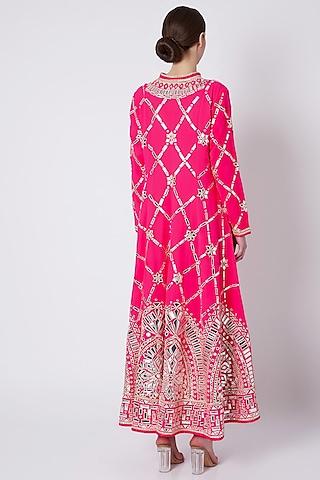 Fuchsia Pink Embroidered Sherwani Set by ASAL By Abu Sandeep