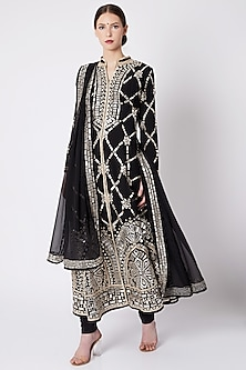 Black Embroidered & Printed Sherwani Set by ASAL By Abu Sandeep