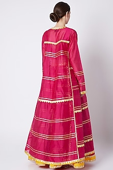 Fuchsia Pink Embroidered & Printed Lehenga Set by ASAL By Abu Sandeep