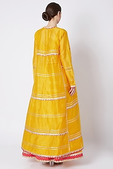 Yellow Embroidered & Printed Lehenga Set by ASAL By Abu Sandeep