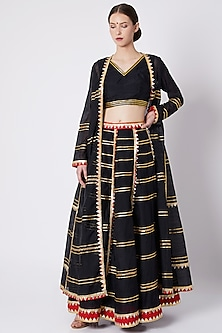Black Embroidered & Printed Lehenga Set by ASAL By Abu Sandeep