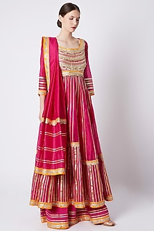 Fuchsia Pink Embroidered Anarkali Set by ASAL By Abu Sandeep