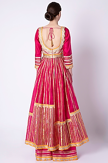Fuchsia Pink Embroidered & Printed Anarkali Set by ASAL By Abu Sandeep