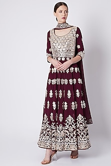 Maroon Embroidered & Printed Anarkali Set by ASAL By Abu Sandeep