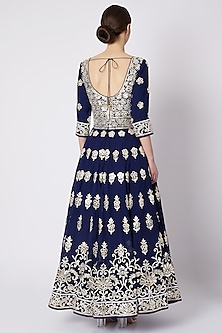 Cobalt Blue Embroidered & Printed Anarkali Set by ASAL By Abu Sandeep